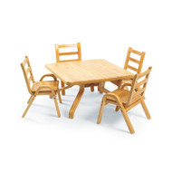 Angeles AB78002011 Natural Wood 30x30x20 Square Toodler Table and 4 ­ 11 Inch chairs