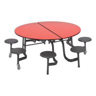 AmTab MSR608 Round Mobile Stool Cafeteria Table 60 inch Diameter