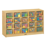 Jonti-Craft 04210JC Birch Mobile Cubbies with 20 Clear Trays