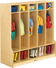 Jonti-Craft 0468JC Birch Coat Lockers with Step and 5 Sections