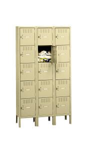 Tennsco BK5-151512-3 Steel 5 Tier Box Lockers 3 Wide with Legs 45x15x66