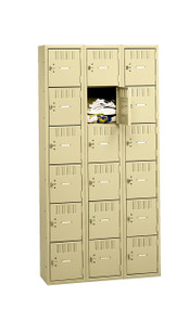 Tennsco BK6-151812-C Steel 6 Tier Box Lockers 3 Wide without Legs 45x18x72