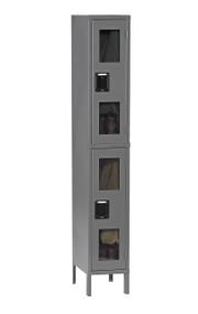 Tennsco CDL-121536-1 Steel Double Tier C Thru Locker with Legs 12x15x78