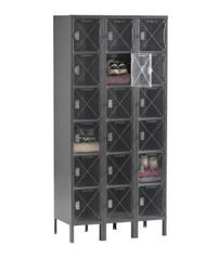 Tennsco CBL6-121812-3 Steel C Thru 3 Wide Box Locker with Legs 36x18x78