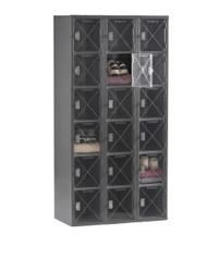 Tennsco CBL6-121212-C Steel C Thru 3 Wide Box Locker without Legs 36x12x72