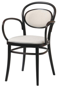 Grand Rapids Chair B020A-UPH-BK Bentwood Classic Wood Arm Chair with Upholstered Seat and Back