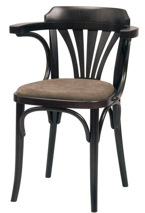 Grand Rapids Chair B025A UPH Bentwood Classic Wood Fan Back Arm Chair With  Upholstered Seat