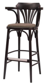 Grand Rapids Chair B025BS-UPH Bentwood Classic Wood Fan Back Barstool with Upholstered Seat