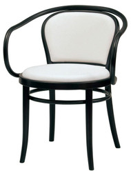 Grand Rapids Chair B030A-UPH-BK Bentwood Classic Wood Arm Chair with Upholstered Seat and Back