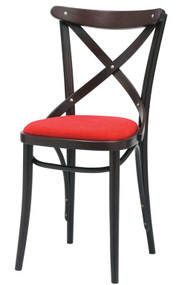 Grand Rapids Chair B150-UPH Bentwood Classic X Style Wood Chair with Upholstered Seat