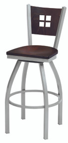 Grand Rapids Chair 6504BS Melissa Anne Steel Swivel Barstool with Wood Seat and Back