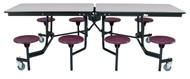 National Public Seating MTS8PC Mobile Stool Rectangle Cafeteria Table Powdercoat Frame 8 Foot