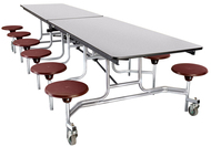 National Public Seating MTS10CR Mobile Stool Rectangle Cafeteria Table