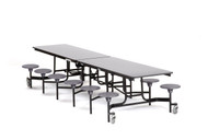 National Public Seating MTS12PC Mobile Stool Rectangle Cafeteria Table Powder Coat Frame 12 Foot with 12 Stools