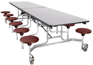 National Public Seating MTS12CR Mobile Stool Rectangle Cafeteria Table Chrome Frame 12 Foot with 12 Stools