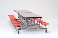 National Public Seating MTS1216PC Mobile Stool Rectangle Cafeteria Table Powder Coat Frame 12 Foot with 16 Stools
