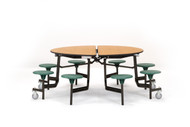 National Public Seating MTR60SPC Mobile Stool Round Cafeteria Table Powder Coat Frame 60 inch with 8 Stools