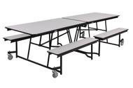 National Public Seating MTFB10CR Mobile Fixed Height Rectangle Bench Cafeteria Table Chrome Frame 10 Foot