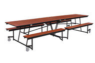 National Public Seating MTFB12CR Mobile Fixed Height Rectangle Bench Cafeteria Table Chrome Frame 12 Foot