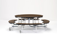 National Public Seating MTR60BCR Mobile Fixed Height Round Bench Cafeteria Table Chrome Frame 60 Inch