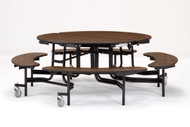 National Public Seating MTR60BPC Mobile Fixed Height Round Bench Cafeteria Table Powder Coat Frame 60 Inch