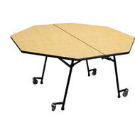 National Public Seating MT48HPC Mobile Fixed Height Hexagon Cafeteria Table Powder Coat Frame with No Seats 4 Foot