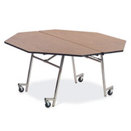 MT60OCR Mobile Fixed Height Octagon Cafeteria Table Chrome Frame with No Seats 5 Foot