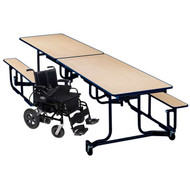 KI Uniframe WAUF12BE Wheelchair Accessible Table with Seating 41x139