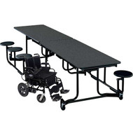 KI Uniframe WAUF126/PY Wheelchair Accessible Table with Stool Seating 41x139