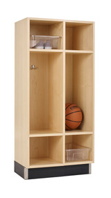 Diversified BP-2415-51M Two Section Maple Backpack Lockers 24 Wx 15 D x 51 H