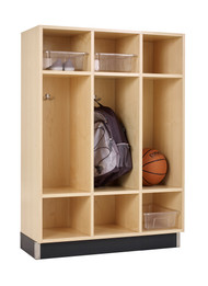 Diversified BP-3615-51M Three Section Maple Backpack Lockers 36 W x 15 D x 51 H