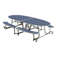 AmTab MBE10 Elliptical Mobile Bench Cafeteria Table 10 Feet 46 Inches