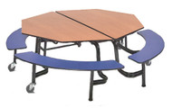 AmTab MBCO604 Octagonal Mobile Bench Cafeteria Table 60 inch Diameter