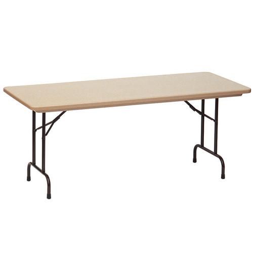 Correll RA3072 24 Adjustable Height Blow Molded Plastic Folding Table 30 X  72 Mocha Granite