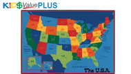 Carpets for Kids 96.95 Value Plus Rectangle USA Maps Rug 8 x 12