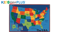 72.95 Value Plus Rectangle USA Maps Rug 6 x 9