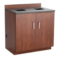 Safco 1704MH Hospitality Base Cabinet Two Door Waste Receptacle Mahogany