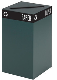 Safco 2981GN  Public Square Green Base 25 Gallon Recycle Bin