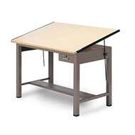Mayline 7736A Ranger Steel 4 Post Drafting Table with Tool Drawer 37 x 60