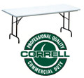 Correll RA3096 Adjustable Height Blow Molded Plastic Folding Table 30 x 96
