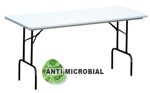 Correll RS3072AM AntiMicrobial Heavy Duty Plastic Folding Table 30 W X 72 L  Fixed Counter Height