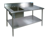 Shain 250497 Stainless Steel Prep Table with Sink On Left 30 x 72