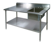 Shain 250498 Stainless Steel Prep Table with Sink On Right 30 x 72