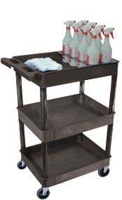 Luxor STC111H-B Utility Cart with 3 Tub Shelves and Bottle Holder