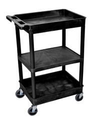 Luxor STC121 Utility Cart with Two Tub Shelves and One Flat Shelf