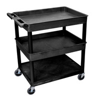 Luxor TC112 Utility Cart with Two Large Tub Shelves and One Flat Shelf