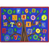 Joy Carpets 1892C-01 Alphabet Leaves Rug 5 feet 4 inch x 7 feet 8 inches