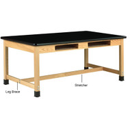 Diversified C7156M36S Two Book Compartment Epoxy Resin Maple Science Table 30 x 72 Top 36 High