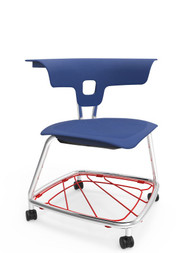 KI Ruckus RKV100H18BR Polypropylene Stack Chair With Casters And Bookrack 18 Inch Seat Height