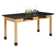 Diversified C7142K36N Two Book Compartment ChemGuard Oak Science Table 30 x 60 Top 36 High